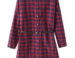 Red Plaid Print Button Up Longline Shirt Dress Choies.com online fashion store United Kingdom Europe