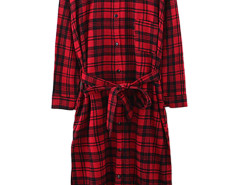 Red Plaid Side Split Longline Shirt Choies.com online fashion store United Kingdom Europe