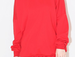 Red Pocket Long Sleeve Sweatshirt And Drawstring Waist Shorts Choies.com online fashion store United Kingdom Europe