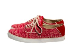 Red Printed Sneakers in Canvas - Robert Carnet de Mode online fashion store Europe France