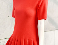 Red Short Sleeve Ruffle Pleat Blouse Choies.com online fashion store United Kingdom Europe