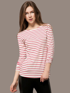Red Stripe Long Sleeve T-shirt Choies.com online fashion store United Kingdom Europe