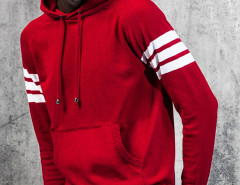 Red Striped Sleeve Pocket Front Hooded Jumper Choies.com online fashion store United Kingdom Europe