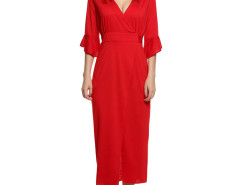 Red Trumpet Sleeve Bow Back Split Wrap Dress Choies.com online fashion store United Kingdom Europe