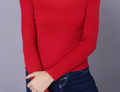 Red V Neck Long Sleeve Tight Knitted Jumper Choies.com online fashion store United Kingdom Europe
