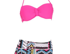 Rose Halter Cupped Bikini Top And Geo Pattern High Waist Bottom Choies.com online fashion store United Kingdom Europe