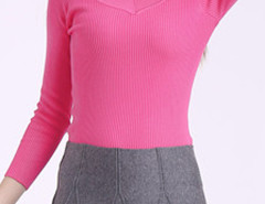 Rose Red V Neck Long Sleeve Tight Knitted Jumper Choies.com online fashion store United Kingdom Europe