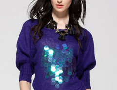 Royal Blue Bead And Sequin Embellished Puff Sleeve Sweater Choies.com online fashion store United Kingdom Europe