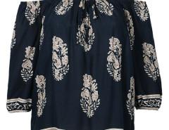 RoyalBlue Tile Print Off Shoulder Tassel Hem 3/4 Sleeve Blouse Choies.com online fashion store United Kingdom Europe