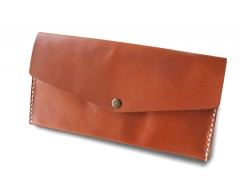 Rust Leather Wallet with Long Zipper Carnet de Mode online fashion store Europe France
