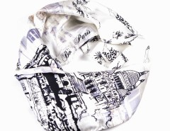 Scarf - Toit de Paris Silk - White Carnet de Mode online fashion store Europe France