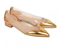 Segolene Gold and Copper Leather and PVC Pointed Ballet Flats Carnet de Mode online fashion store Europe France