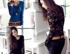 Sexy Fashion Women's Lace Long Sleeve Slim T-Shirt Cndirect online fashion store China