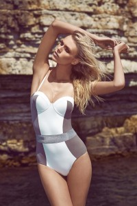 Silicon Belted Halter White and Taupe One-Piece - Carla Carnet de Mode online fashion store Europe France