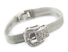 Silver Diamond Embellished Waist Tie Shape Bracelet Choies.com online fashion store United Kingdom Europe