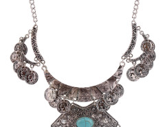 Silver Plated Turquoise Embellished Statement Coin Necklace Choies.com online fashion store United Kingdom Europe