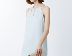 Sky Blue Beaded Collar Cut Out Shift Dress Choies.com online fashion store United Kingdom Europe