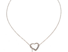 Sliver Hearts Pendant Crystal Detail Chain Necklace Choies.com online fashion store United Kingdom Europe