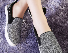 Sliver Sequined Rivet Rabbit Ear Decorated Loafers Choies.com online fashion store United Kingdom Europe