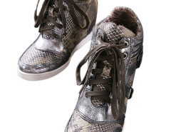 Sliver Snake Effect Lace Up Sneakers Choies.com online fashion store United Kingdom Europe