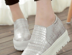 Sliver Textured Flatform Loafers Choies.com online fashion store United Kingdom Europe