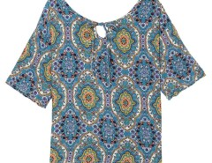 Steel Blue Geo Floral Keyhole Front Blouse Choies.com online fashion store United Kingdom Europe