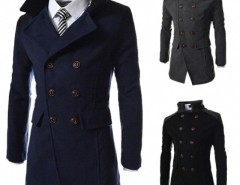 Stylish Men Slim Personalized Pocket Double-breasted Winter Long Jacket Overcoat Trench Coat Cndirect online fashion store China