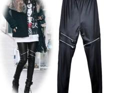 Stylish Women's Girls Black Faux Leather Zip Up Fashion Skinny Pants Leggings Trousers Cndirect online fashion store China