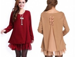 Summer Dress Women Pregnant Long Sleeve Knit Wool Bowknot Tops Sexy Mini Loose Dress Cndirect online fashion store China
