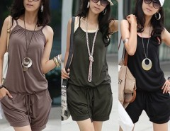 Summer Women's Sleeveless Romper Strap Short Jumpsuit Overall Scoop Cndirect online fashion store China