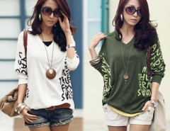 T-Shirt Tops Women V-Neck Batwing Sleeve Letter Dolman Blouse Fashion Tee  GT56 Cndirect online fashion store China