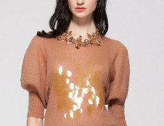 Tan Bead And Sequin Embellished Puff Sleeve Sweater Choies.com online fashion store United Kingdom Europe