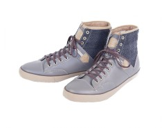 Taupe High Top Sneakers in Leather and Wool - Raymond Carnet de Mode online fashion store Europe France