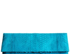 Turquoise Python Leather Clutch - Essentiel Carnet de Mode online fashion store Europe France