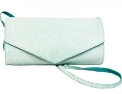 Turquoise Suede and White Caviar Leather Clutch Carnet de Mode online fashion store Europe France