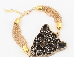 Vintage Fashion Rock Punk Style Golden Leopard Head Chain Wristband Bracelet Cndirect online fashion store China