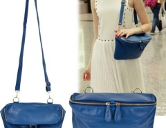 Vintage Style Women's Blue Double Zipper Head Cross Bag Shoulder Handbag Purse Bag Cndirect online fashion store China