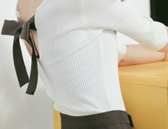White 3/4 Sleeve Bowtie Back Jumper Choies.com online fashion store United Kingdom Europe