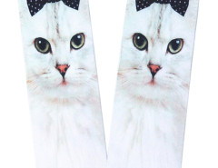 White 3D Cute Bowtied Cat Print Ankle Socks Choies.com online fashion store United Kingdom Europe