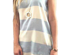 White And Blue Stripe Hi-lo Vest Choies.com online fashion store United Kingdom Europe