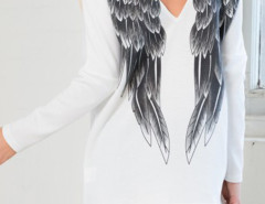White Angel Wing Print Back Long Sleeve T-shirt Choies.com online fashion store United Kingdom Europe