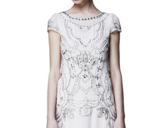White Bead And Rhinestone Embellished Cap Sleeve Dress Choies.com online fashion store United Kingdom Europe