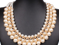 White Bead Faux Pearl Statement Chain Necklace Choies.com online fashion store United Kingdom Europe