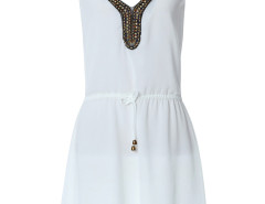 White Beaded Bow Tie Drawstring Cami Dress Choies.com online fashion store United Kingdom Europe