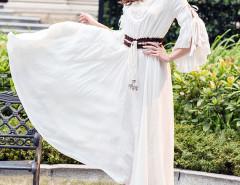 White Beaded V Neck Ruffle Sleeve Drawstring Waist Empire Dress Choies.com online fashion store United Kingdom Europe