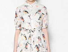 White Bird Print Tied Waist Half Sleeve Shirt Dress Choies.com online fashion store United Kingdom Europe