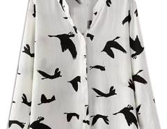 White Bird Print V-neck Chiffon Shirt Choies.com online fashion store United Kingdom Europe