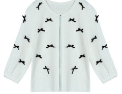 White Bow Embellished Single Button Short Cardigan Choies.com online fashion store United Kingdom Europe