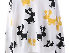 White Cartoon Deer Print Long Sleeve Sweatshirt Choies.com online fashion store United Kingdom Europe