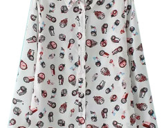 White Cartoon Owl Print Ruched Shirt Choies.com online fashion store United Kingdom Europe
